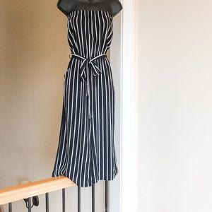 AMBIANCE sz S black white stripe Capri jumpsuit